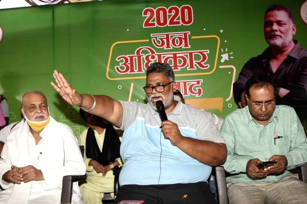Jan Adhikar Party chief Pappu Yadav addresses a press conference in Patna on Aug 31, 2020. - Pappu Yadav