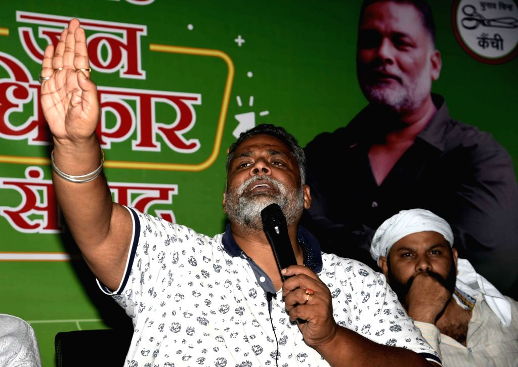 Jan Adhikar Party chief Pappu Yadav addresses a press conference in Patna on Sep 25, 2020. - Pappu Yadav