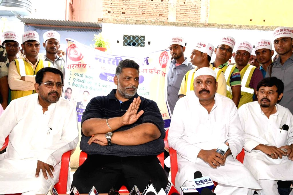 Jan Adhikar Party chief Pappu Yadav addresses a press conference in Patna on June 25, 2017. - Pappu Yadav