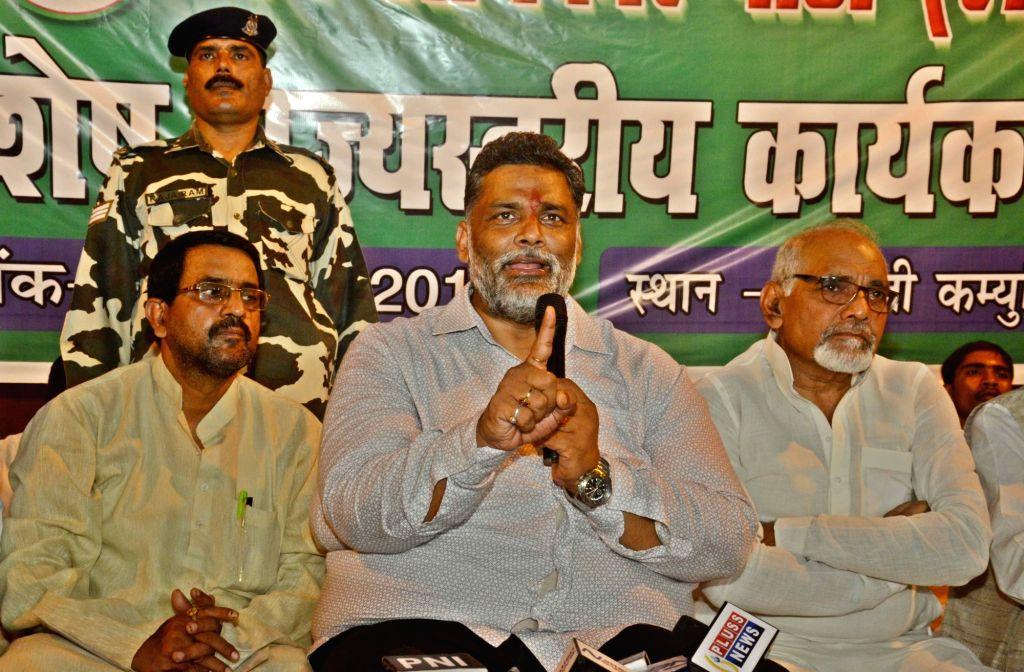 Jan Adhikar Party chief Pappu Yadav addresses a press conference in Patna on July 6, 2017. - Pappu Yadav