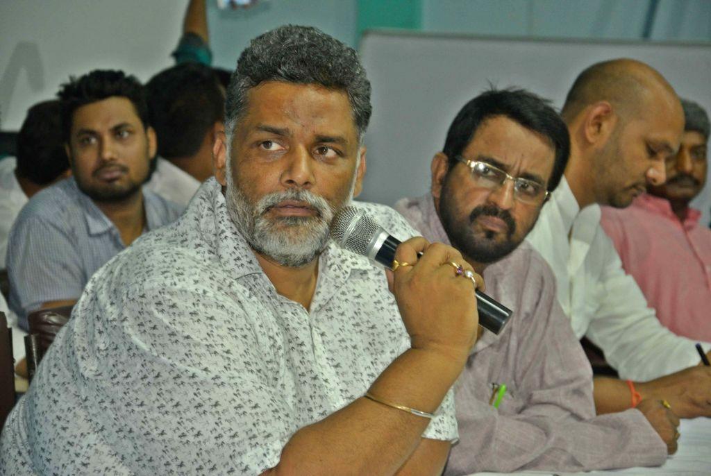 Jan Adhikar Party chief Pappu Yadav addresses a press conference in Patna on July 7, 2017. - Pappu Yadav