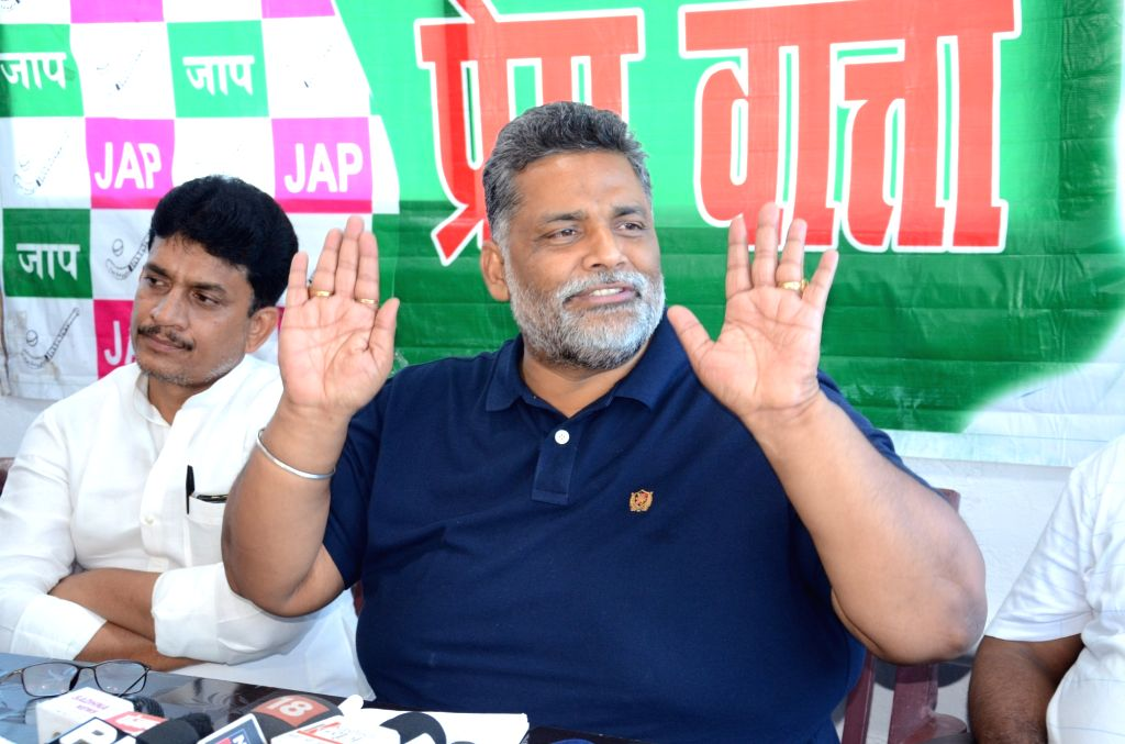 Jan Adhikar Party chief Pappu Yadav addresses a press conference in Patna on July 2, 2018. - Pappu Yadav
