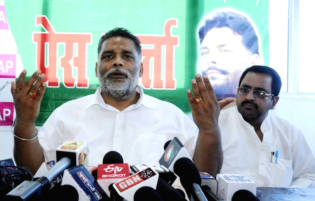 Jan Adhikar Party chief Pappu Yadav addresses a press conference, in Patna on Sept 5, 2018. - Pappu Yadav