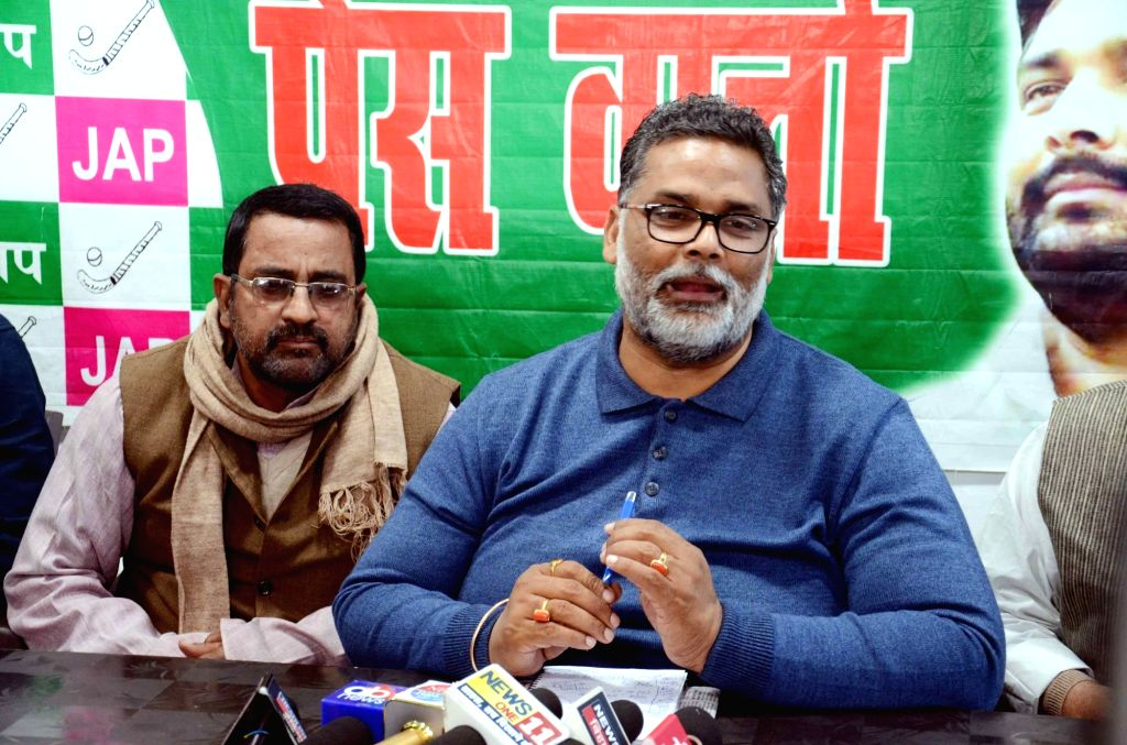 Jan Adhikar Party Chief Pappu Yadav addresses a press conference in Patna, on Dec 11, 2018.