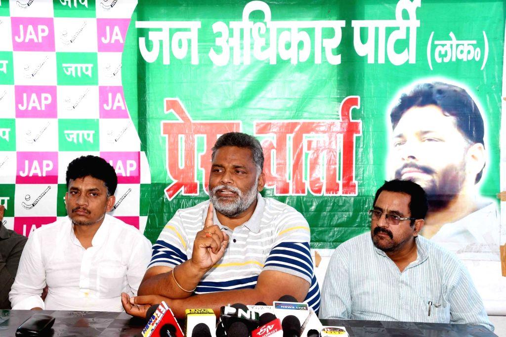 Jan Adhikar Party chief Rajesh Ranjan alias Pappu Yadav addresses a press conference in Patna, on April 25, 2019. - Pappu Yadav
