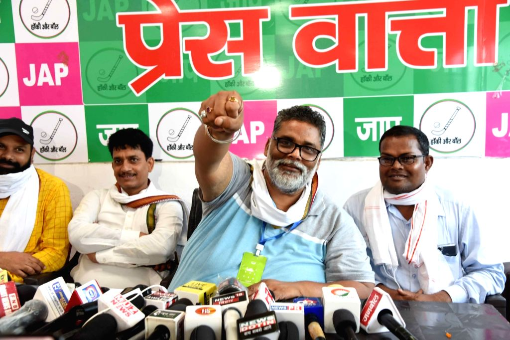 Jan Adhikar Party (JAP) chief Pappu Yadav addresses a press conference on gangster Vikas Dubey's encounter, in Patna on July 11, 2020. - Pappu Yadav