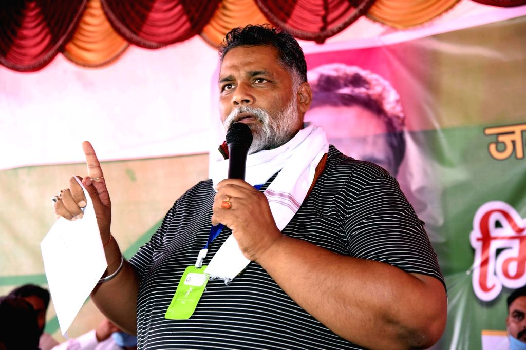 Jan Adhikar Party (JAP) chief Pappu Yadav addresses party workers at a party meeting, in Patna on July 14, 2020. - Pappu Yadav