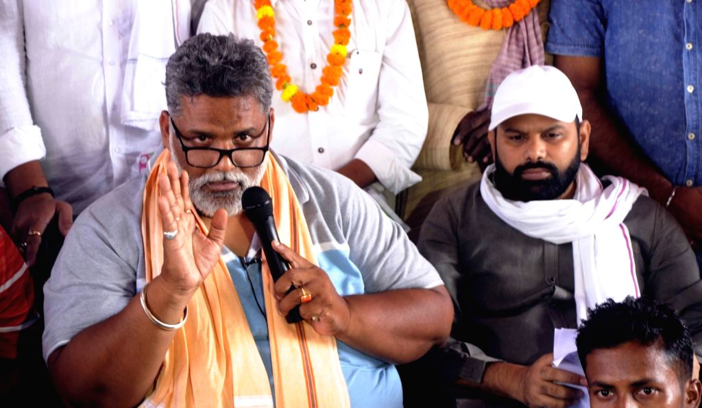 Jan Adhikar Party (JAP) chief Pappu Yadav addresses a press conference in Patna on Aug 12, 2020. - Pappu Yadav