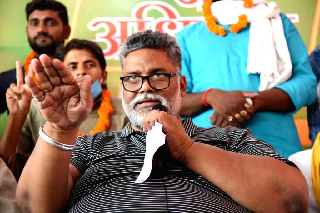 Jan Adhikar Party (JAP) chief Pappu Yadav addresses a press conference in Patna on Sep 11, 2020. - Pappu Yadav
