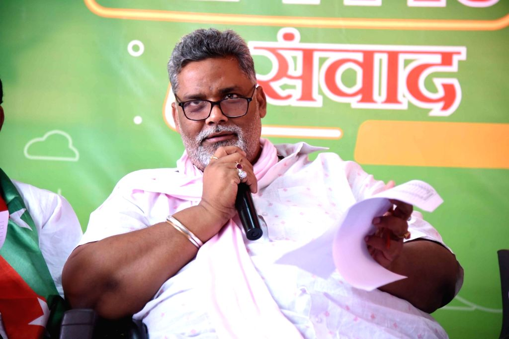 Jan Adhikar Party (JAP) chief Pappu Yadav addresses a press conference ahead of Bihar Assembly elections, in Patna on Oct 19, 2020. - Pappu Yadav
