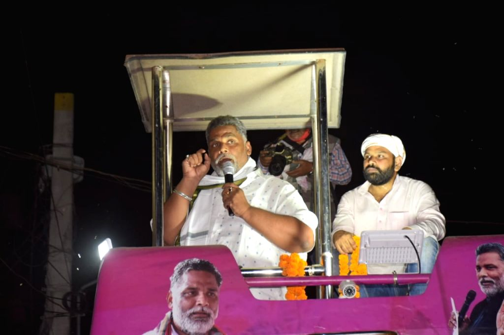 Jan Adhikar Party (JAP) chief Pappu Yadav addresses during election campaign ahead of Bihar Assembly elections, in Patna on Oct 20, 2020. - Pappu Yadav