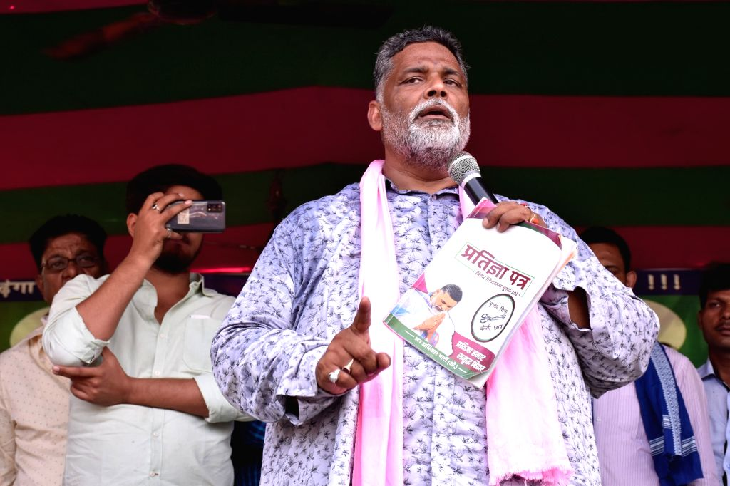 Jan Adhikar Party (JAP) chief Pappu Yadav addresses an election rally in the Bakhri assembly constituency of Begusarai district ahead of Bihar Assembly elections, on Oct 26, 2020. - Pappu Yadav