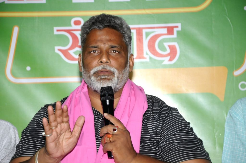 Jan Adhikar Party (JAP) chief Pappu Yadav addresses a press conference in Patna on Oct 28, 2020. - Pappu Yadav