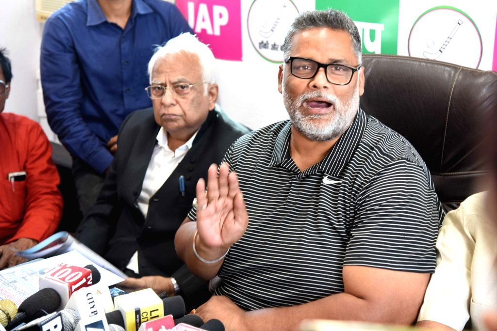 Jan Adhikar Party (JAP) chief Pappu Yadav addresses a press conference in Patna on Nov 13, 2019. - Pappu Yadav