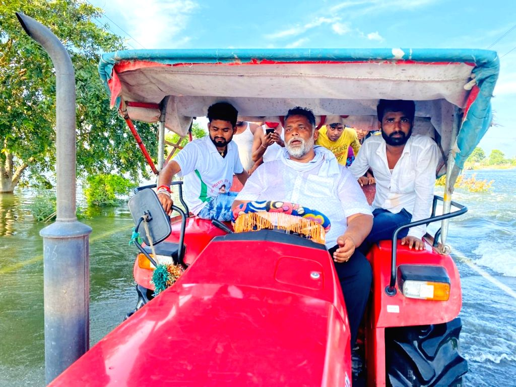 Jan Adhikar Party (JAP) chief Pappu Yadav during his visit to the flood-hit Chapra of Bihar's Saran district on Aug 6, 2020. - Pappu Yadav