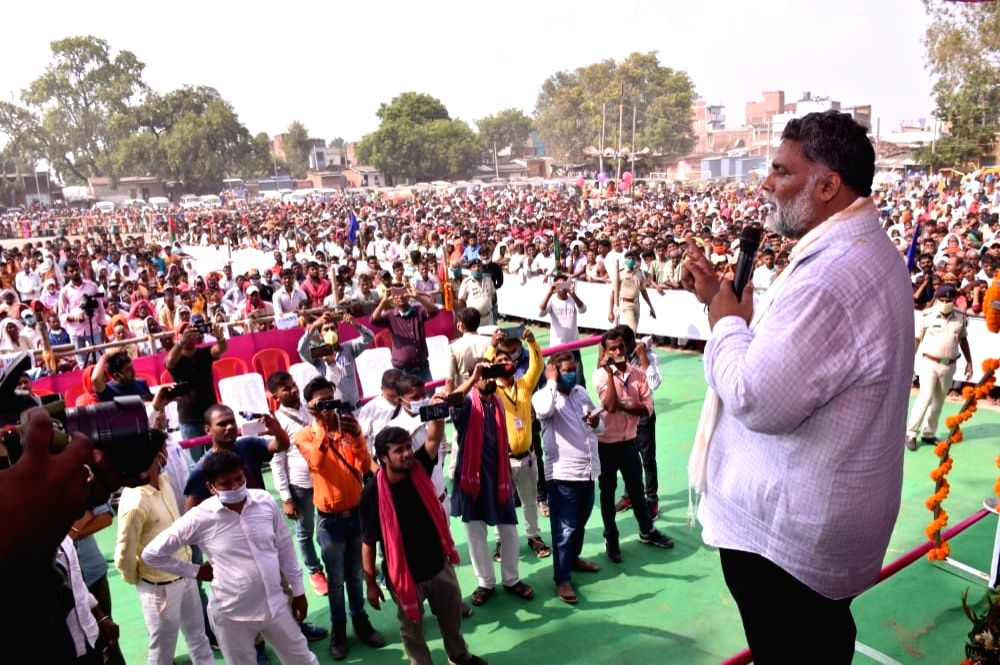 Jan Adhikar Party (JAP) chief Pappu Yadav holds an election rally ahead of the upcoming Bihar Assembly elections, in Aurangabad on Oct 17, 2020. - Pappu Yadav