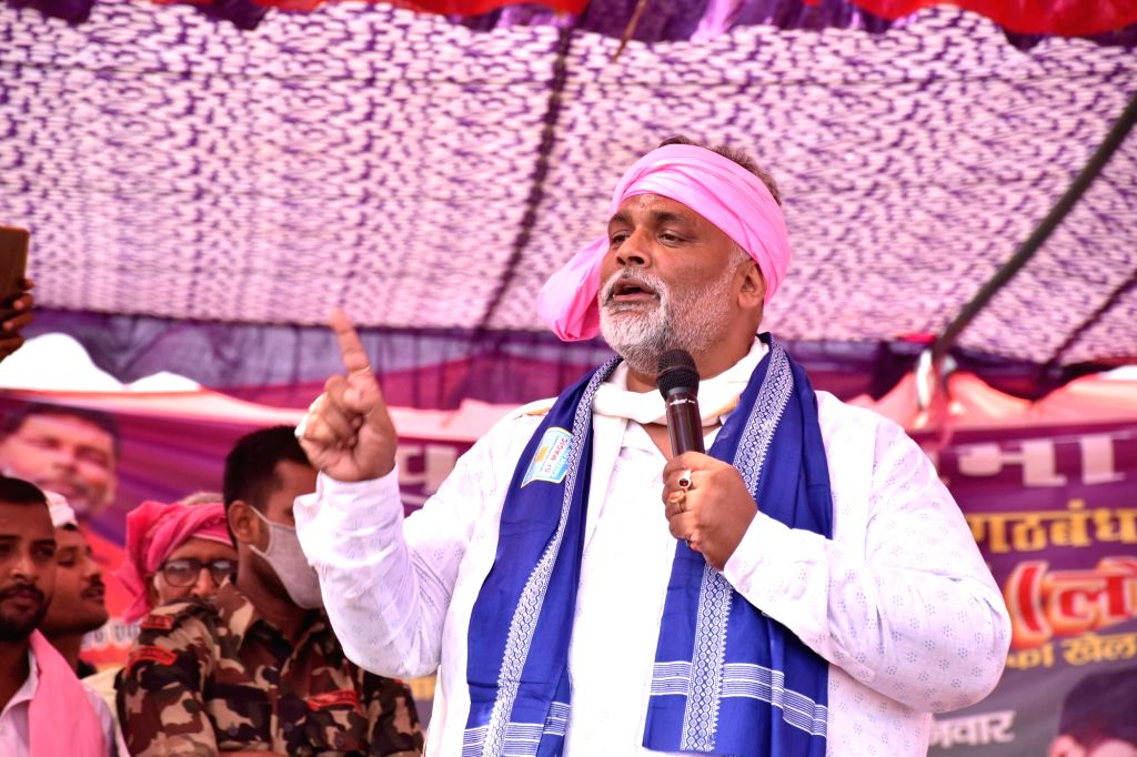 Jan Adhikar Party (JAP) chief Pappu Yadav holds an election rally ahead of Bihar Assembly polls, at Berhampur in Buxar on Oct 24, 2020. - Pappu Yadav