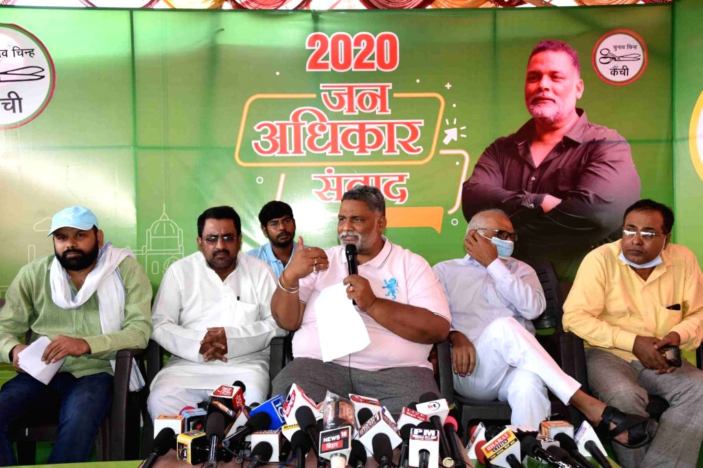 Jan Adhikar Party (JAP) chief Pappu Yadav talks to the media during a press conference in Patna on Sep 19, 2020. - Pappu Yadav