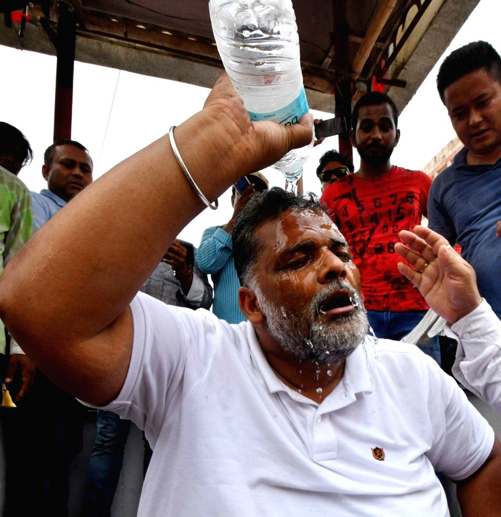 Jan Adhikar Party (JAP) chief Rajesh Ranjan alias Pappu Yadav during a demonstration amid Bihar bandh called by his party to press for their various demands, in Patna on July 7, 2018. - Pappu Yadav