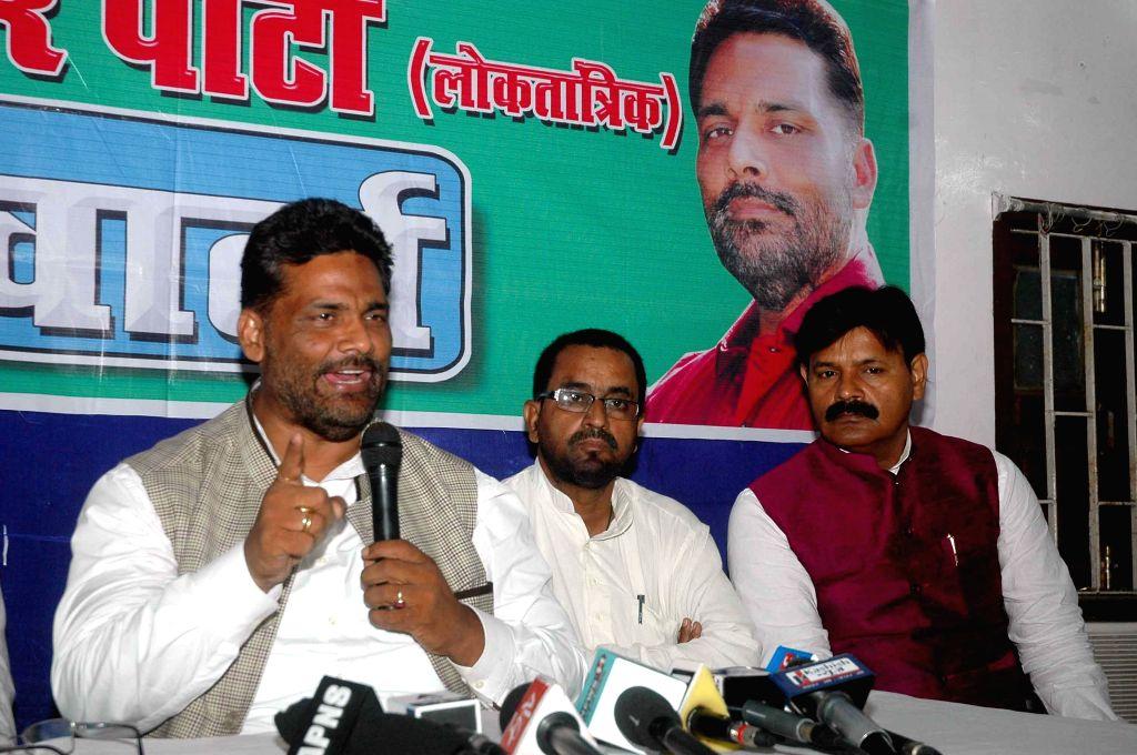 Jan Adhikar Party (JAP) founder Rajesh Ranjan alias Pappu Yadav addresses a press conference in Patna, on Aug 17, 2015. - Pappu Yadav