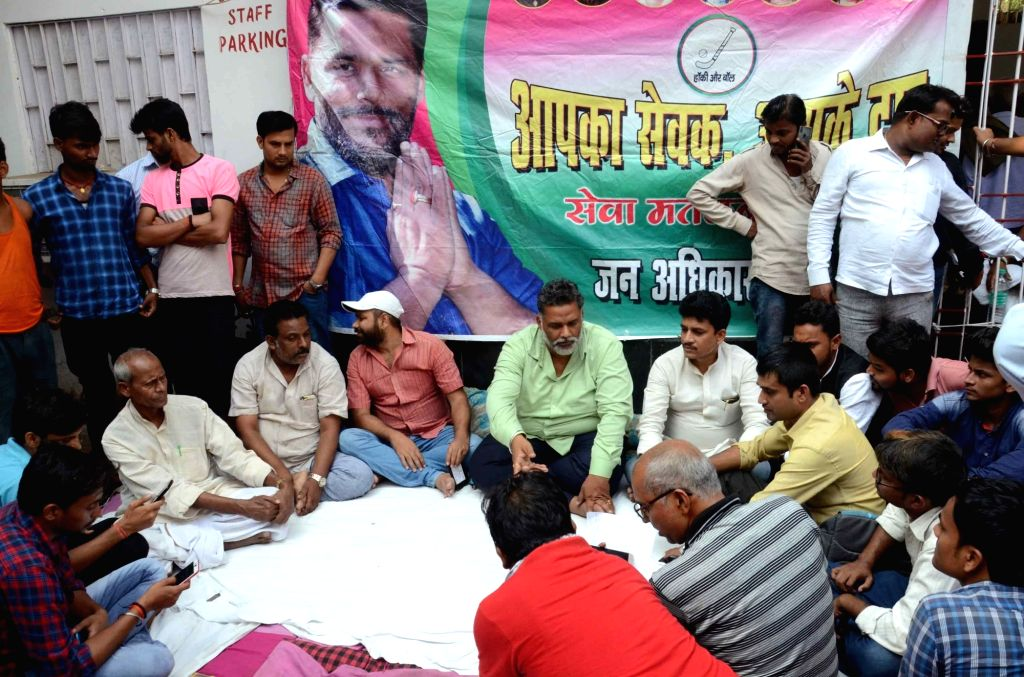 Jan Adhikar Party (JAP) leader Pappu Yadav listens to peoples' grievances outside Patna Medical College and Hospital (PMCH), on Oct 29, 2018. - Pappu Yadav