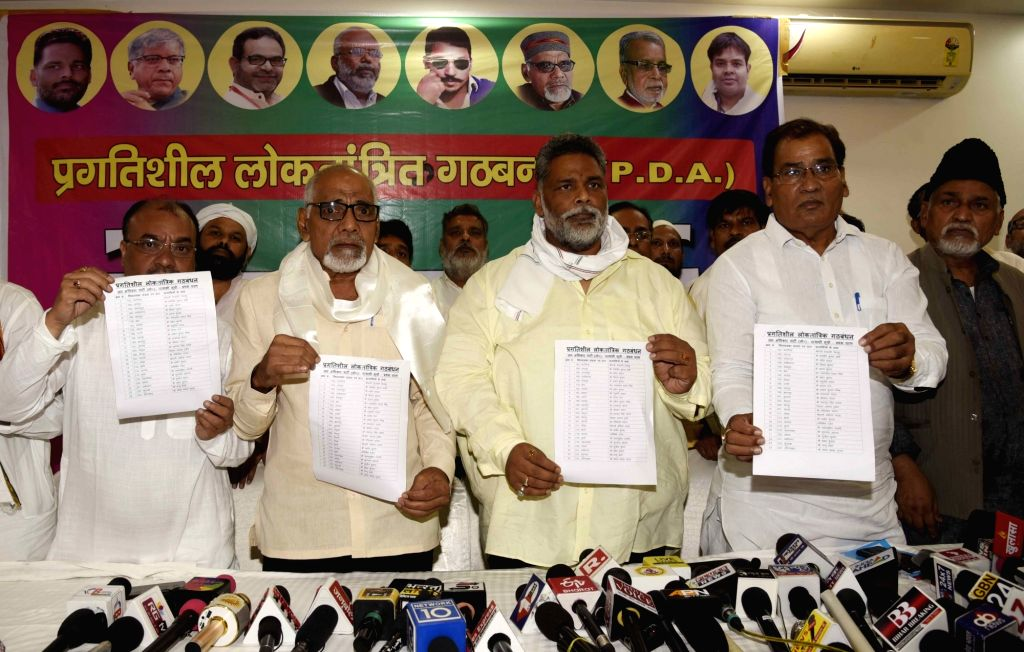 Jan Adhikar Party (JAP) President Rajesh Ranjan alias Pappu Yadav releases the list of candidates for Bihar Assembly elections, along with leaders of Progressive Democratic Alliance (PDA) in ... - Pappu Yadav