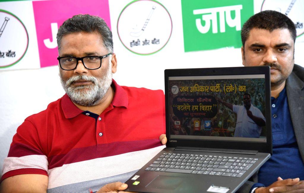 Jan Adhikar Party (JAP) President Rajesh Ranjan alias Pappu Yadav launches digital campaign 'Badlenge Hum Bihar' for the upcoming Bihar Assembly elections, in Patna on March 21, 2020. - Pappu Yadav