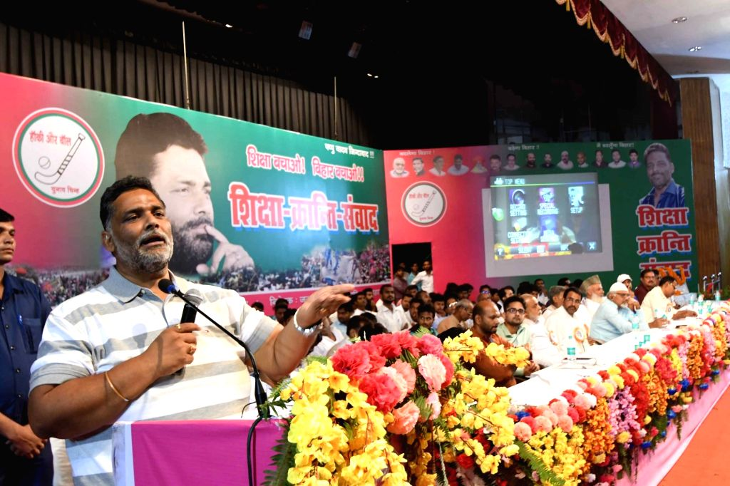 Jan Adhikar Party leader Pappu Yadav addresses during a programme in Patna, on Aug 9, 2017. - Pappu Yadav