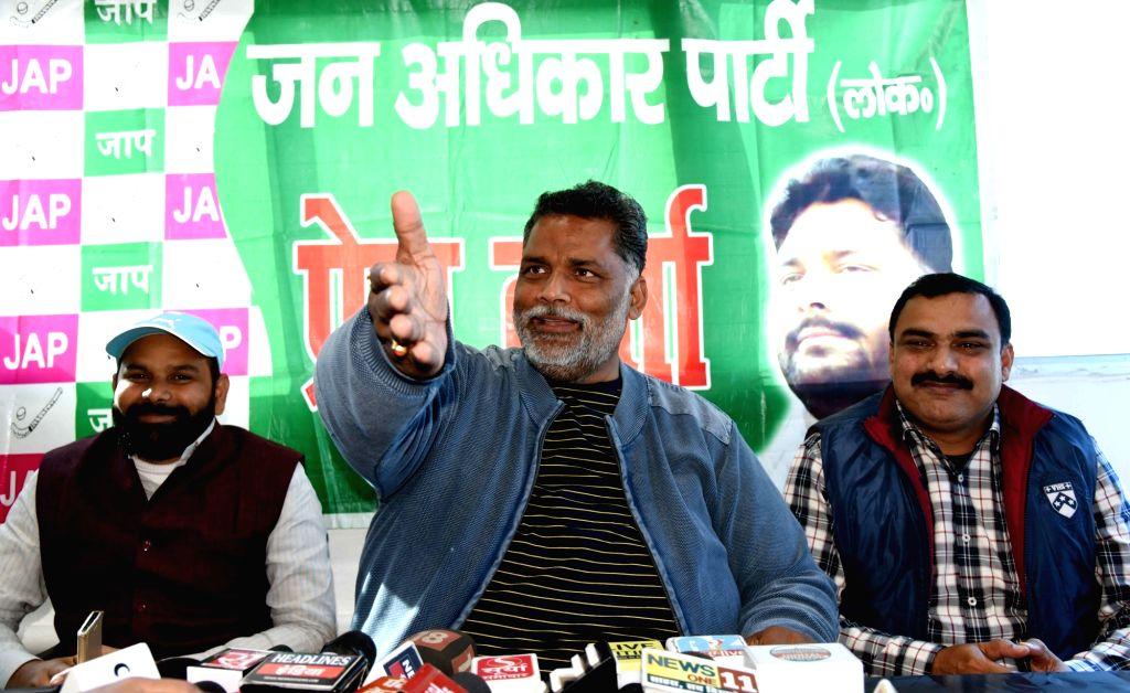 Jan Adhikar Party leader Pappu Yadav addresses a press conference in Patna on Jan 29, 2018. - Pappu Yadav