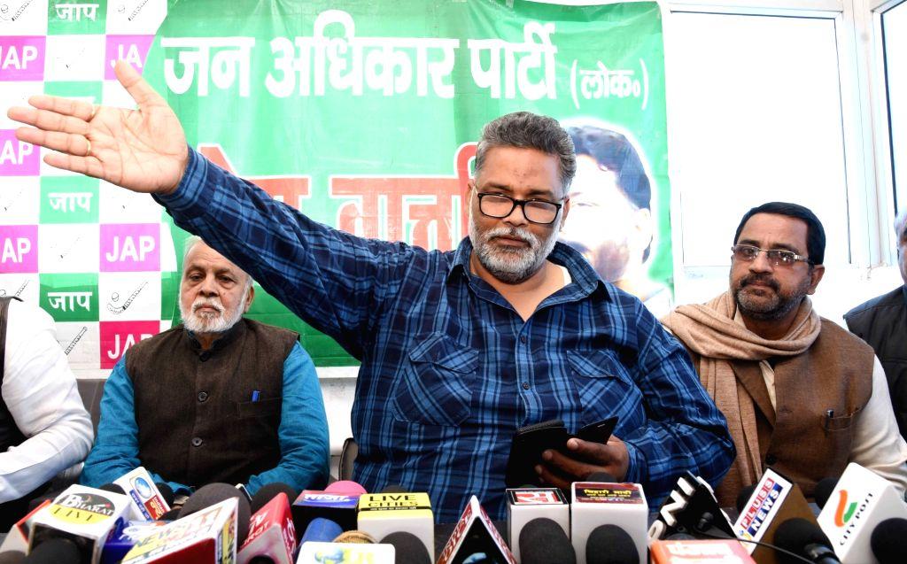 Jan Adhikar Party leader Pappu Yadav addresses a press conference in Patna on March 1, 2019. - Pappu Yadav
