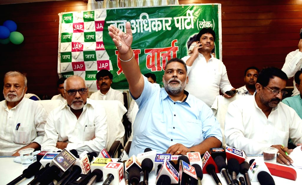 Jan Adhikar Party leader Pappu Yadav addresses a press conference, in Patna on Aug 28, 2019. - Pappu Yadav