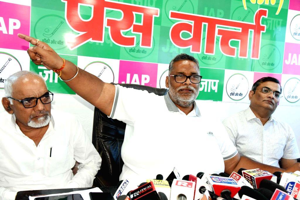 Jan Adhikar Party leader Pappu Yadav addresses a press conference, in Patna on Oct 10, 2019. - Pappu Yadav