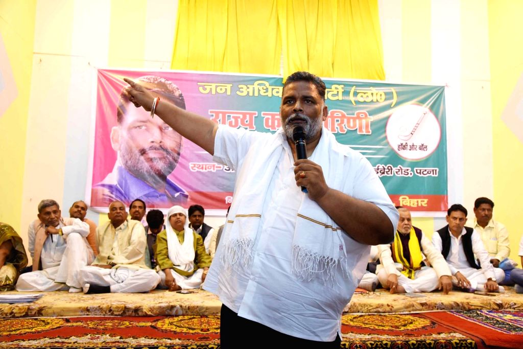 Jan Adhikar Party leader Pappu Yadav addresses a party meeting in Patna on March 18, 2020. - Pappu Yadav