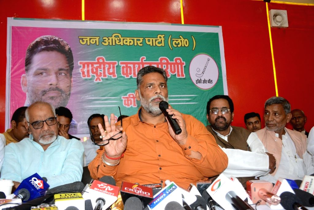 Jan Adhikar Party leader Pappu Yadav addresses a press conference - Pappu Yadav