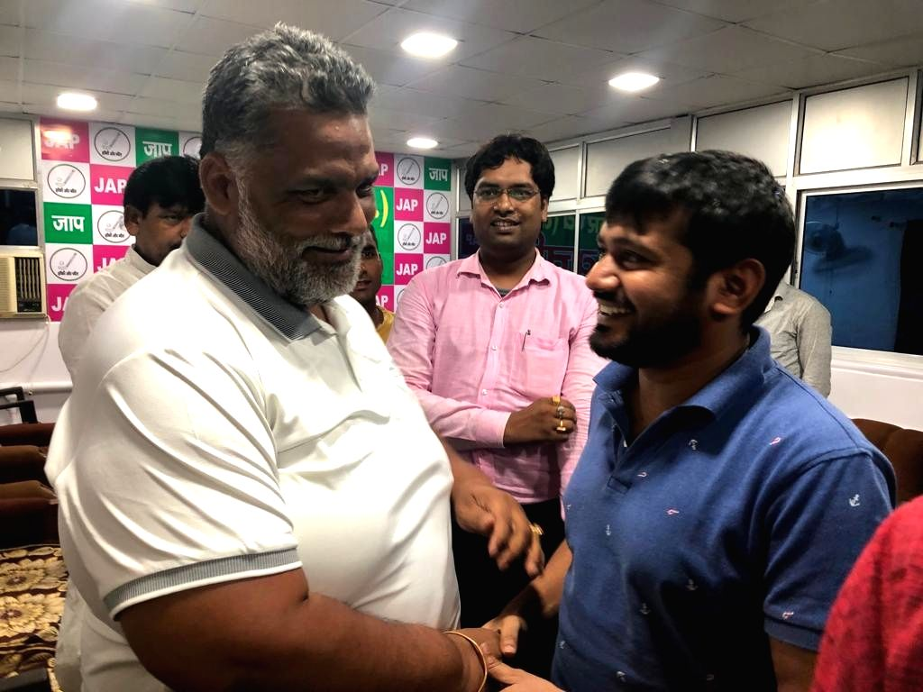 Jan Adhikar Party leader Pappu Yadav meets Communist Party of India leader Kanhaiya Kumar to talk about the formation of a 'Third Front', in Patna on Aug 16, 2019. - Pappu Yadav and Kanhaiya Kumar