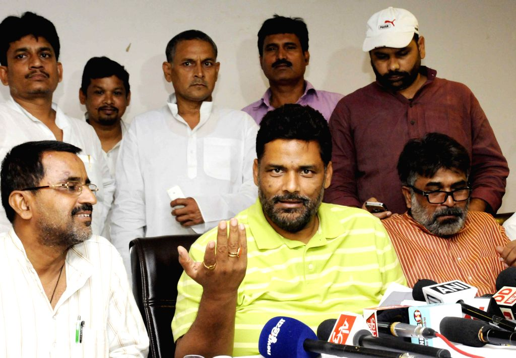 Jan Adhikar Party leader Rajesh Ranjan alias Pappu Yadav addresses a press conference in Patna on June 29, 2015.