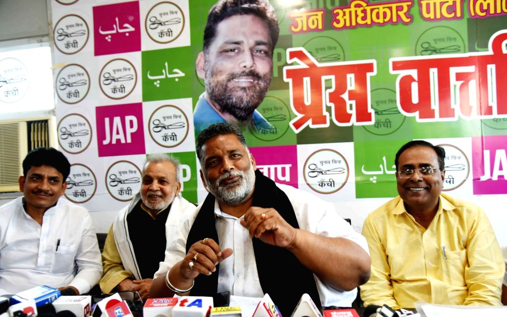Jan Adhikar Party president Rajesh Ranjan alias Pappu Yadav addressing a press conference over the Muzaffarpur liquor incident in Patna on Tuesday 23rd February, 2021. - Pappu Yadav