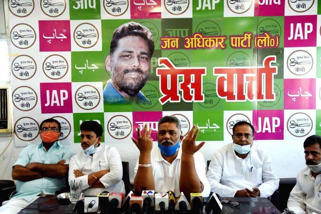 Jan Adhikar Party president Rajesh Ranjan alias Pappu Yadav addressing a press conference in Patna on Sunday April 18, 2021. - Pappu Yadav
