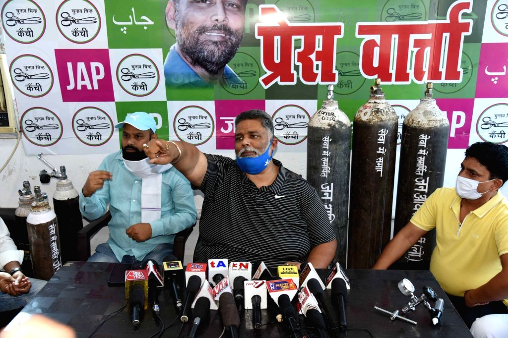 Jan Adhikar Party president Rajesh Ranjan alias Pappu Yadav addressing a press conference during the free provide oxygen cylinder to Covid patients in Patna on Thursday April 22,2021. - Pappu Yadav