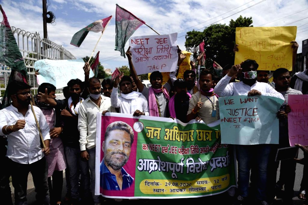 Jan Adhikar Party student activists stage a demonstration demanding the postponement of National Eligibility-cum-Entrance Test (NEET) and Joint Entrance Exam (JEE) in the wake of the COVID-19 ...