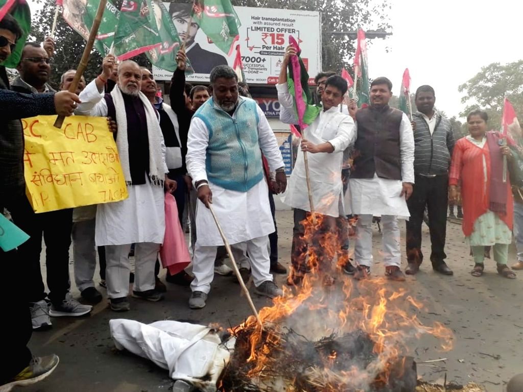 Jan Adhikar Party workers stage a demonstration against the Citizenship Amendment Bill (CAB) 2019, in Patna on Dec 12, 2019.