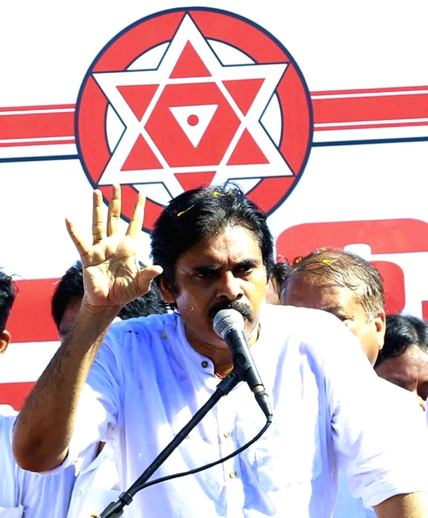 Jana Sena  actor Chief K. Pawan Kalyan  during the  shramadana and  addresses a public meeting at Balajipet, Rajamahendravaram on Saturday. October 02,2021at Rajamahendravaram. - Chief K. Pawan Kalyan