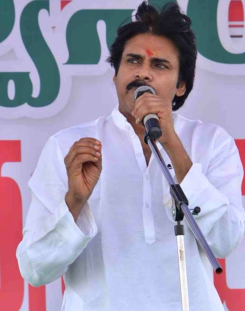Jana Sena chief Pawan Kalyan addresses during the foundation stone laying ceremony of his party office in Anantapur, Andhra Pradesh on Jan 27, 2018.
