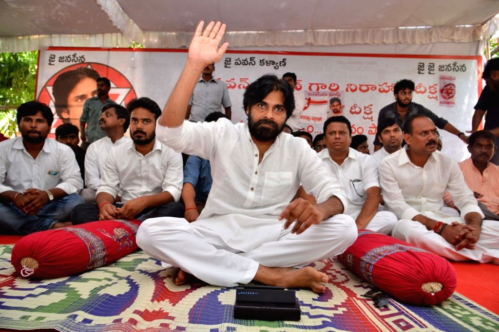 Jana Sena chief Pawan Kalyan during a day-long hunger strike in solidarity with the patients of kidney disease in Uddanam region of Andhra Pradesh's Srikakulam district; in  Srikakulam on ...