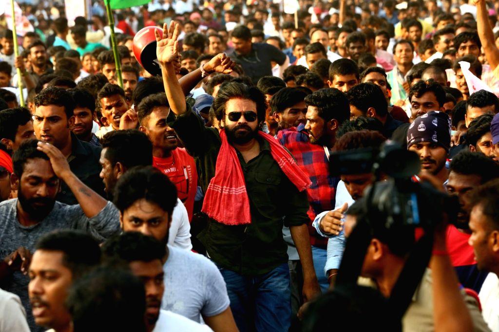 Jana Sena chief Pawan Kalyan during his party's 'porata yatra' that commenced today from Ichchapuram of Andhra Pradesh's Srikakulam district on May 21, 2018.