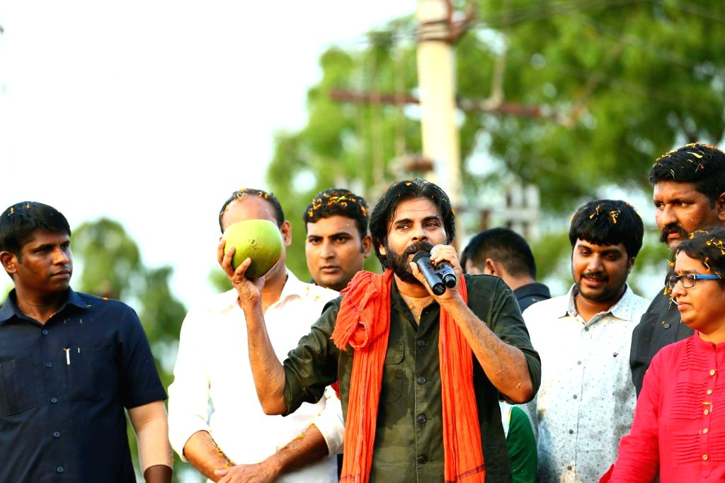 Jana Sena chief Pawan Kalyan during his party's 'porata yatra', in Srikakulam on May 22, 2018.