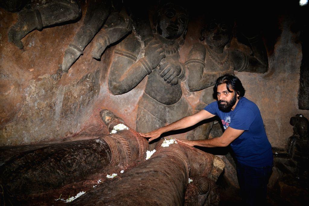 Jana Sena chief Pawan Kalyan during his visit to the Undavalli Caves in Andhra Pradesh's Guntur district on July 22, 2018.