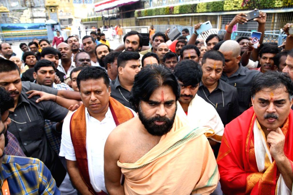 Jana Sena chief Pawan Kalyan visits Tirumala Tirupati Temple in Chittoor district of Andhra Pradesh on Dec 4, 2019.