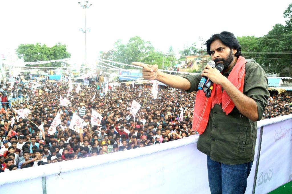 Jana Sena founder Pawan Kalyan during a rally in Vizianagaram on June 1, 2018.