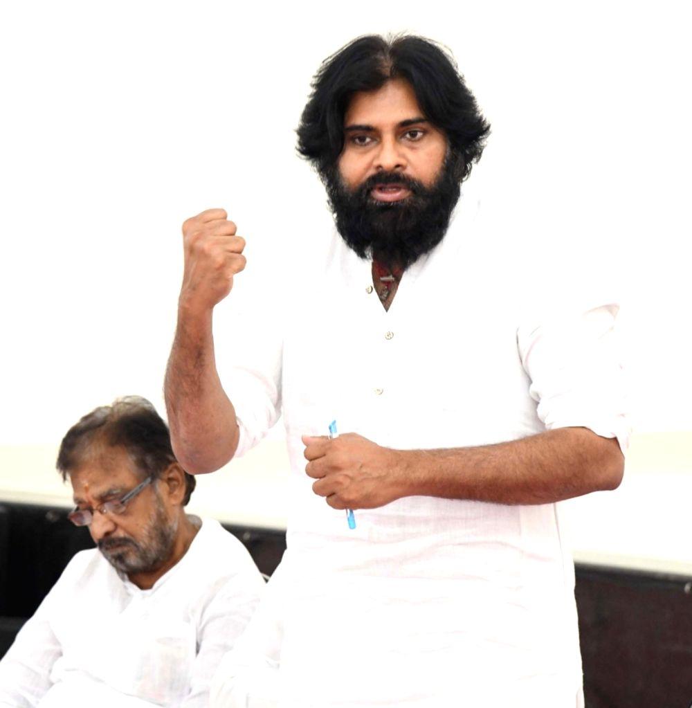 Jana Sena Party chief Pawan Kalyan addresses at a party's meeting, in Andhra Pradesh's Mangalagiri, on May 12, 2019.